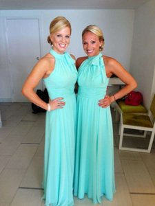 Mori Lee Tiffany Blue Chiffon Formal Bridesmaid/Mob Dress Size 6 (S)