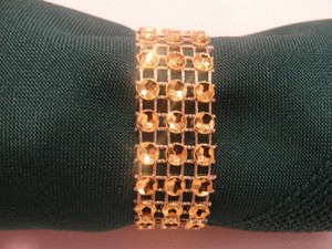 Wedding Napkin Rings 100pc Gold Bling Rhinestone Diamond Mesh Sparkle (3 Rows) Quinceanera / Shower / Bridal Party