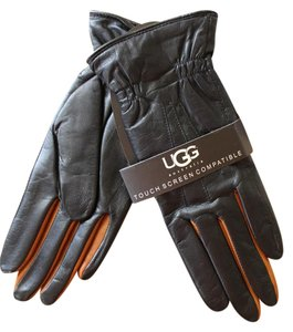 UGG Australia Leather Two Toned Smart Tech Touch Leather Gloves Small
