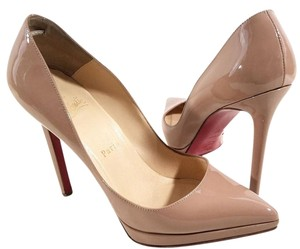 Christian Louboutin Pointy-toe Covered Platform Nude Pumps