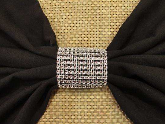 Silver 100 Tone Bling Rhinestone Bow Covers / Napkin Rings / Sash Holder Party Reception Decoration