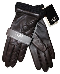 UGG Australia Leather Quilted Smart Tech Leather Gloves Small