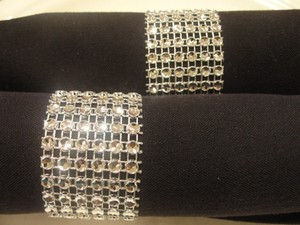 125 Wedding Rhinestone Napkin Rings Silver Rhinestone Diamond Mesh (6 Rows) Quinceanera / Bridal / Decoration Party