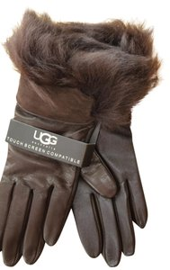 UGG Australia Leather Faux Fur Trim Smart Technology Leather Gloves Medium