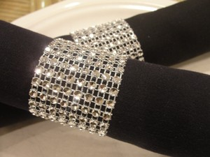 Rhinestone Napkin Rings Wedding 150 Pcs Silver Tone Bling Sparkle Diamond Mesh Rhinestone Napkin Rings (8 Rows)shower