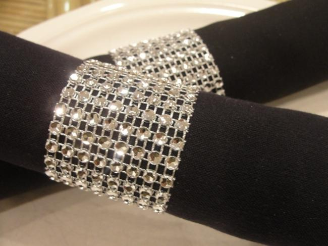 Silver 150 Bling Rhinestone Style Napkin Rings Party Reception Decoration Silver 150 Bling Rhinestone Style Napkin Rings Party Reception Decoration Image 1