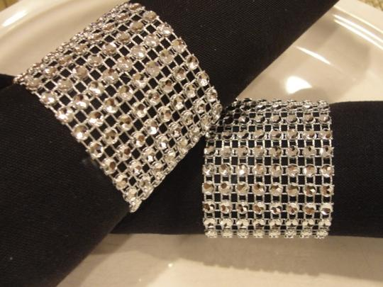 Silver 150 Bling Rhinestone Style Napkin Rings Party Reception Decoration