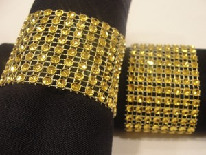 Rhinestone Napkin Rings Wedding 150 Pcs Gold Tone Bling Sparkle Diamond Mesh Rhinestone Napkin Rings (8 Rows)shower