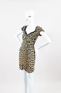 Blumarine Wool Blend Leopard Print Bead Embellished Ss Dress
