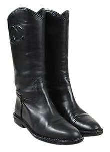 Chanel Leather Western Black Boots