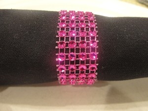 Wedding Napkin Rings 150pc Hot Pink Bling Rhinestone Diamond Mesh Sparkle (4 Rows) Quinceanera / Shower / Bridal Party