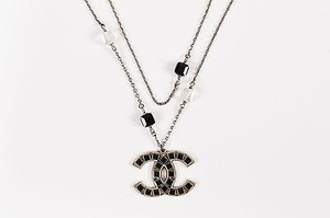 Chan Luu Chanel 08p Silver Tone Black Swarovski Crystal Cc Logo Double Chain Necklace