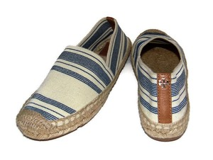 Tory Burch Striped Canvas Navy, cream Flats