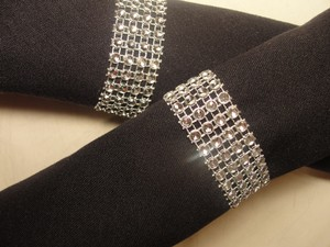 Wedding Rhinestone Napkin Rings 150pc Silver Bling Rhinestone Diamond Mesh Sparkle (4 Rows) Quinceanera / Shower / Party