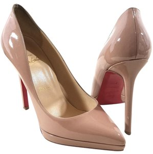 Christian Louboutin Pointy-toe Covered Platform Nude Patent Pumps