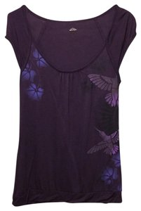 H&M Soft Bird Floral Aubergine Print T Shirt Purple