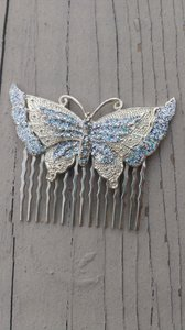 Art Deco Silver Butterfly Hair Comb