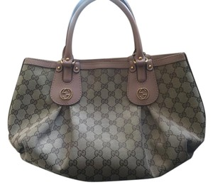 Gucci Monogram Studded Tote in Beige canvas w/ blush leather trim