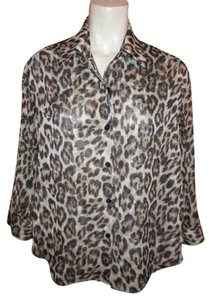 Alice + Olivia Button Down Blouse Shirt Top brown & tan animal print