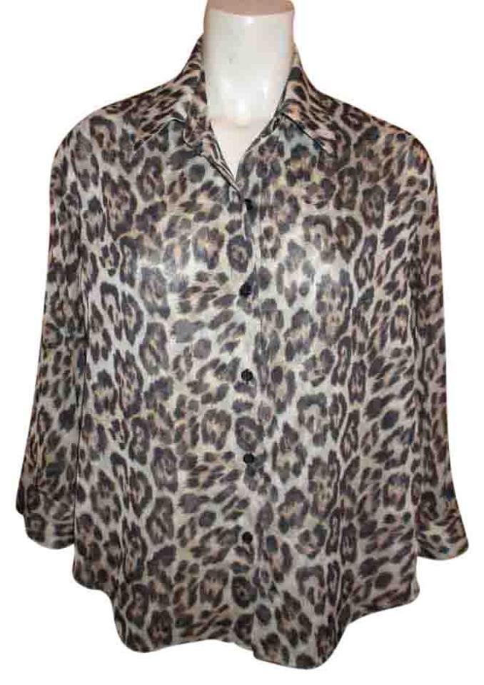 5575100c2914 Alice + Olivia Button Down Blouse Shirt Top brown & tan animal print Image  0 ...