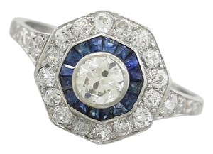 Ladies Antique Art Deco Diamond Sapphire Platinum Engagement Ring EGL