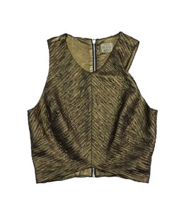 Torn by Ronny Kobo Gold Sleeveless Cropped Shirt Sweatshirt