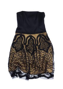 Laundry by Shelli Segal short dress Black Gold Mesh Overlay on Tradesy
