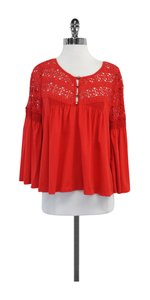 Plenty by Tracy Reese Red Eyelet Cotton Shirt Top