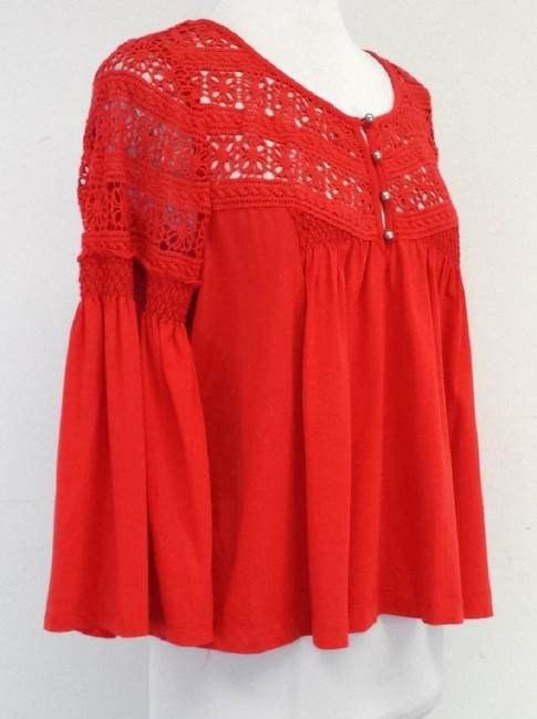 Plenty by Tracy Reese Eyelet Cotton Shirt Top Red