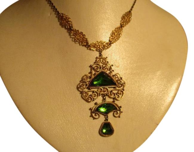 Gold & Green Antique Filigree with Emerald Stones Necklace Gold & Green Antique Filigree with Emerald Stones Necklace Image 1