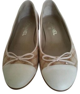 Chanel Tweed Canvas Leather Cc Logo Beige Flats