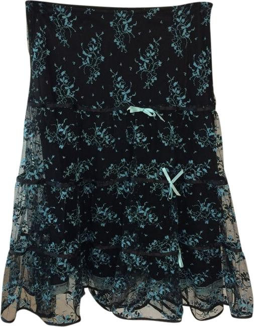 Betsey Johnson Lace Adorable Skirt Black & Turquoise