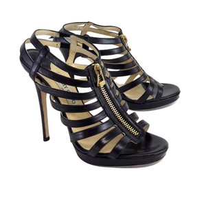 Jimmy Choo Black Leather Zip Heels Sandals