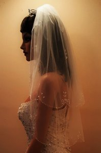 Bridal Scalloped Beaded Veil Elbow Length 2 Tiers
