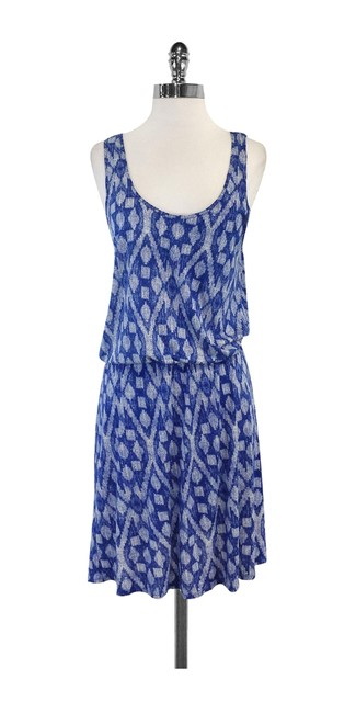Preload https://img-static.tradesy.com/item/19755021/joie-blue-and-white-print-sleeveless-high-low-short-casual-dress-size-8-m-0-0-650-650.jpg