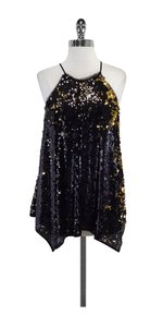 MILLY Black Gold Sequin Top