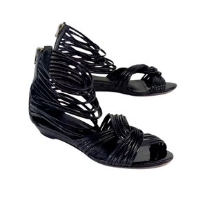 Loeffler Randall Black Strappy Gladiator Sandals