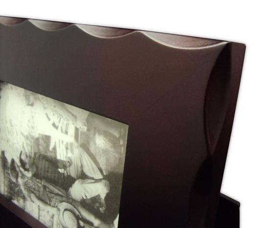 Brown Desktop Photo Frame - Wooden with Beveled Scallops - Holds 4