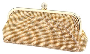 Mariell Crystal Evening Bridal Wedding Gold Clutch
