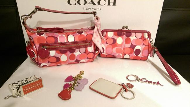 Coach Clutch 2pc_rare Poppy To Kaleidoscope Hearts Kisslock Red Pink White Sateen Baguette Coach Clutch 2pc_rare Poppy To Kaleidoscope Hearts Kisslock Red Pink White Sateen Baguette Image 1
