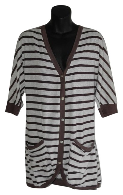 Preload https://img-static.tradesy.com/item/19755508/velvet-by-graham-and-spencer-white-loose-fit-long-stripe-neck-cardigan-size-12-l-0-3-650-650.jpg