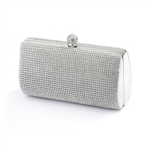 Mariell Silver 2-sided Crystal Evening Bag Clutch Minaudiere 4394eb-s Bridal Handbag