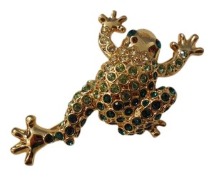 MONET Rhinestone Frog Pin Brooch