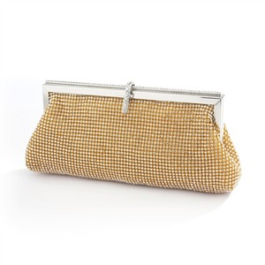 Mariell Gold Luxurious Double-sided Crystal Evening Bag with Vintage Frame 4393eb-cr-g Bridal Handbag