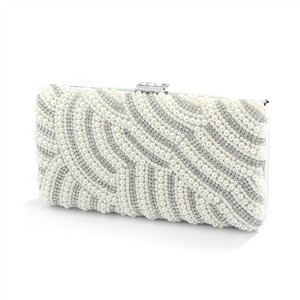 Mariell Soft Cream Pearl Bridal Evening Bag With Bezel Crystals 4398eb-sc-s