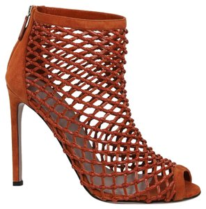 Gucci Leather Woven Dark Orange Boots