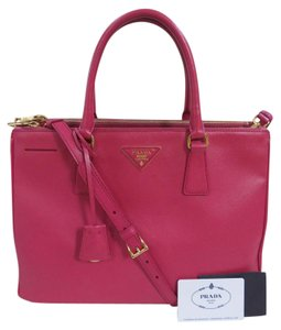 Prada Saffiano Leather Double Zip Tote in Pink