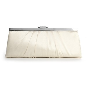 Mariell Sleek Framed Ivory Satin Wedding Clutch Purse 769eb-i