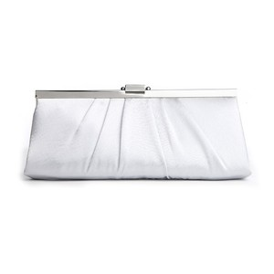 Mariell Silver Sleek Framed Light Satin Clutch Purse 769eb-i Bridal Handbag