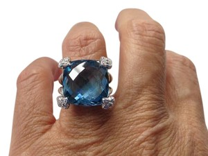 David Yurman Cushion on Point 15mm Hampton Blue Topaz w/Pave' Diamonds